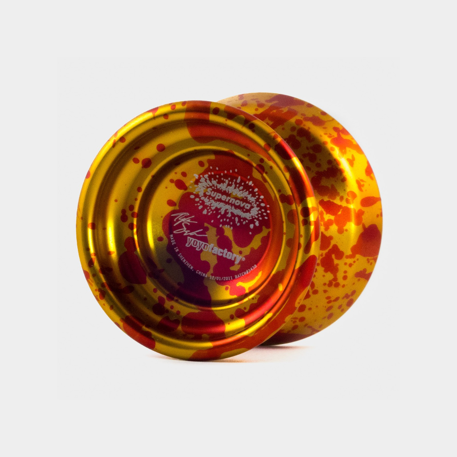 Supernova (Old) yo-yo in Gold / Red Splash by YoYoFactory